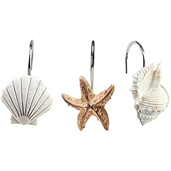 agptek 12 pcs fashion decorative home bathroom seashell shower curtain hooks seashell light