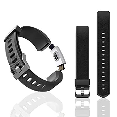 Aneken Replacement Band ID115Plus HR Adjustable Strap for Smart Bracelet Fitness Tracker, 1 Pack (Black)