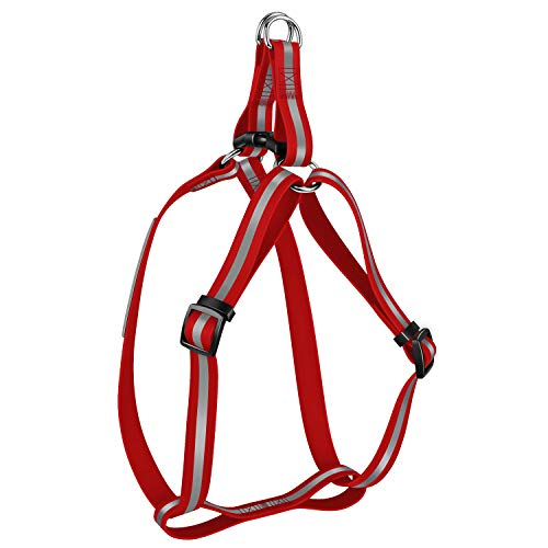 (KOOWIN Personalized Waterproof Dog Harness for Large Dog Female Girl Halter Pet Chest Strap Covered Ultra Soft Rubber, Not Hurt Neck, Reflective Strip, Adjustable (L, Red))