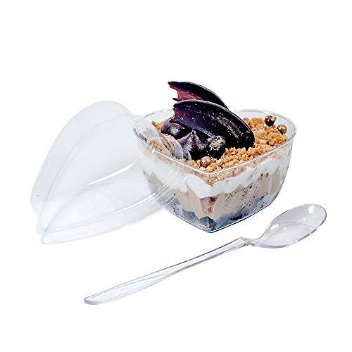Clear Heart Containers - HallGEMs Premium Super Clear Dessert Cup Heart Shape 4oz (50 pack, Heart) with Mini Spoons and Secure Snap-On Lids