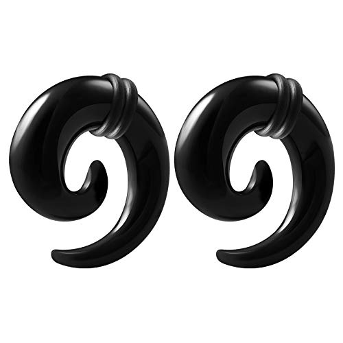 BIG GAUGES Pair of Black Acrylic 1/2 inch Gauge 12mm Spiral Coil Taper O-Rings Piercing Earring Stretching Ear Plug BG1682