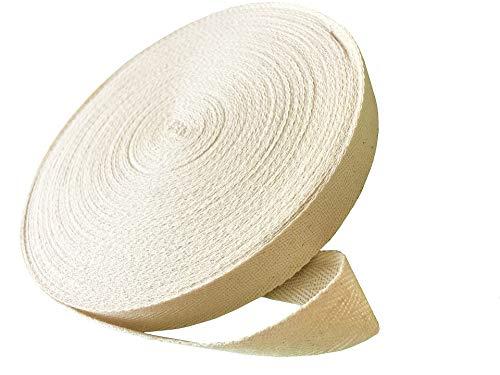 - 50 Yard Twill Tape Ribbon Natural Color 100% Soft Cotton Herringbone Twill Tape, 1 Inch