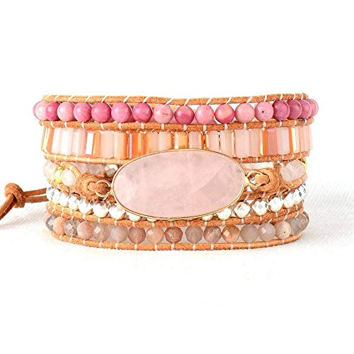 Natural Rose Quartz, Rhodonite, Sunstone Wrap Bracelet | Unconditional Love Bracelet | Pink Bracelet | Fertility Bracelet | Turkish Delight Wrap Bracelet | Love Bracelet | Valentines Gift Ideas