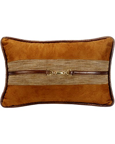 HiEnd Accents Highland Lodge Suede Buckle Pillow, 12×19