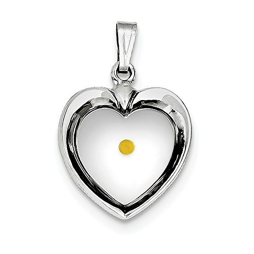 Mireval Genuine Sterling Silver Large Heart With Mustard Seed Pendant - 15 mm x 18 mm. - Genuine Mustard Seed