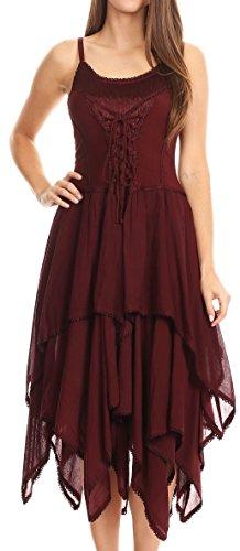 Sakkas 9031 Corset Style Bodice Jaquard Lightweight Handkerchief Hem Dress - Burgandy - OSP (Godet Hem Dress)