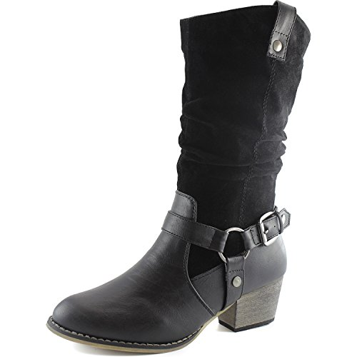 Ladies Slouch Western Boots - DailyShoes Women's Slouch Mid Calf Ankle Strap Buckle Style Cowboy Boots, 11