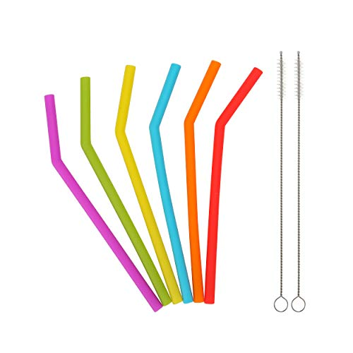 Reusable Silicone Straws for Toddlers & Kids - 6 pcs Flexibl