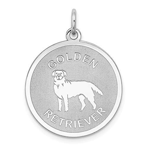 - 925 Sterling Silver Golden Retriever Disc Pendant Charm Necklace Animal Dog Engravable Round Fine Jewelry Gifts For Women For Her