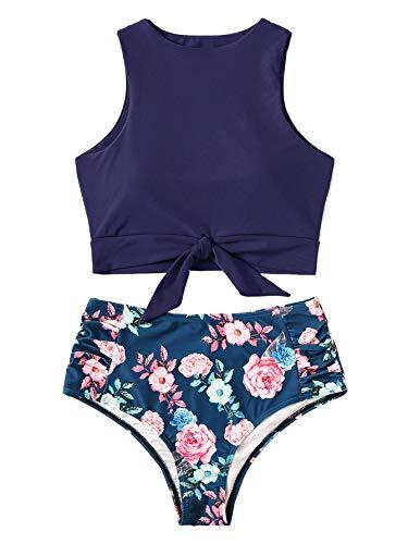 SweatyRocks Women's Sexy High Waisted Bikini Swimsuit Knot Hem Top Floral Print Two Pieces Tankini Set Navy L (Print Floral Knot)