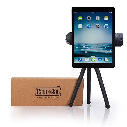 CamRah | Rugged Flexible Tripod Kit | Smartphone, Tablet & GoPro Compatible | Bluetooth Remote | Rugged Durable Aluminum | Ball Head | XL Device Mount