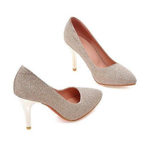AllhqFashion Damen Rein Pailletten Hoher Absatz Spitz Zehe Ziehen auf Pumps Schuhe Golden