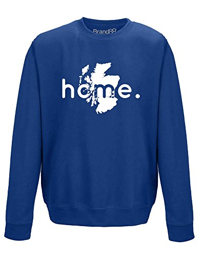 Brand88 Home: Scotland, Adults Sweatshirt - Royal Blue/White (Royal Edinburgh Shortbread)