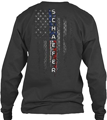 Schaefer. L - Dark Heather Long Sleeve Tshirt - Gildan 6.1oz Long Sleeve Tee