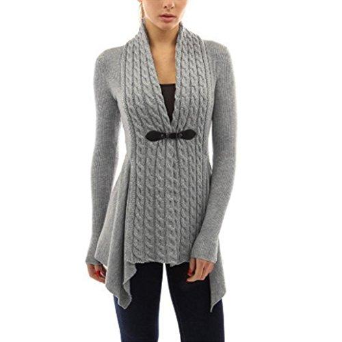 Xmansky Damen Strickjacke Langarmshirt Irregular Baumwolle Cardigan Slim Fit Grau