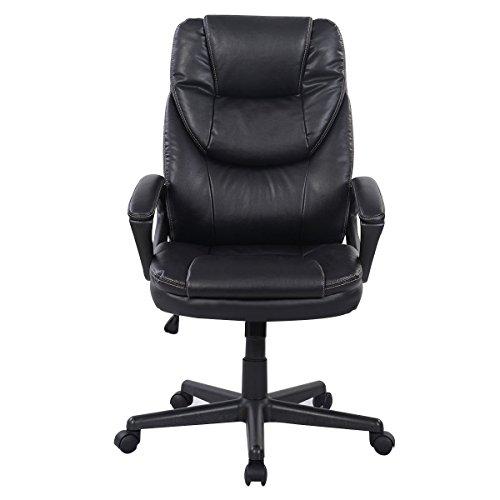 Black PU Leather High Back Office Chair New Task Ergonomic Computer Desk