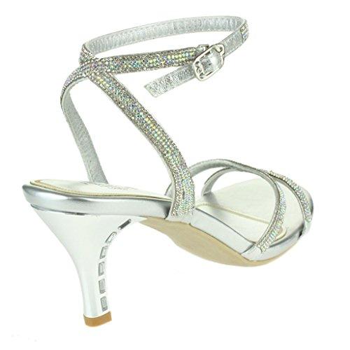 Mujer Señoras Cristal rico ornamentado Brillante Tacones altos Noche Fiesta Boda Paseo Nupcial Diamante Sandalias Zapatos Tamaño Plata