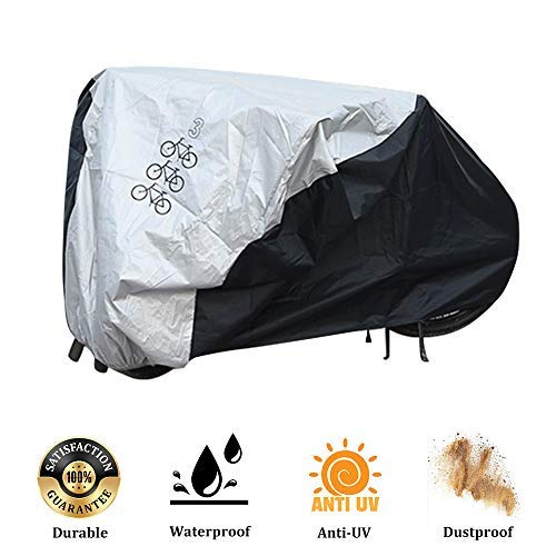 Bicycle Cover for 3 Bikes Waterproof Protector Dustproof and Sunscreen with PU Coating Large Size for 29'' Mountain Bike,Road Bikes and Electric Bike (Outdoor Storage Tarp)
