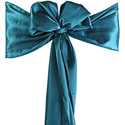 mds Pack of 100 Satin Chair Sashes Bow sash for Wedding and Events Supplies Party Decoration Chair Cover sash - Dark Teal