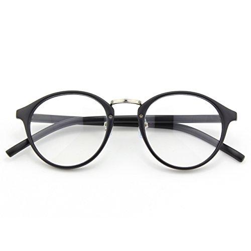 [Happy Store CN65 Vintage Inspired Horned Rim Metal Bridge P3 UV400 Clear Lens Glasses,Matte Black] (Cheap Nerd Glasses)