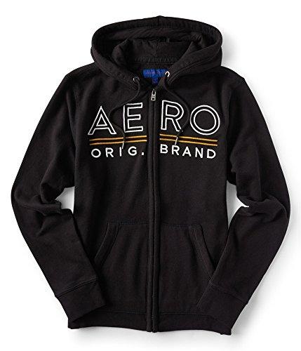 Aeropostale Womens Embroidered Hoodie Sweatshirt, Black, X-Large