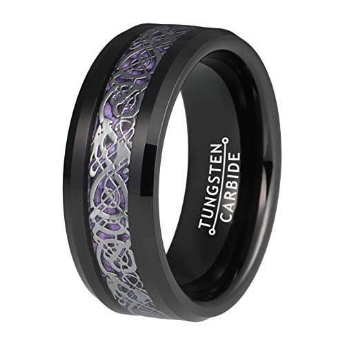 BestTungsten 6mm 8mm Black Tungsten Rings for Men Women Wedding Bands Celtic Dragon Purple Carbon Fiber Inlay Comfort Fit (Wide Celtic Wedding Band)