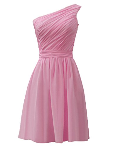 ASBridal One Shoulder Chiffon Pleated Cheap Short Bridesmaid Dresses Party Gowns Hot Pink US 2
