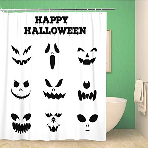 Awowee Bathroom Shower Curtain Collection of Halloween Pumpkins Carved Faces Silhouettes Black Polyester Fabric 72x72 inches Waterproof Bath Curtain Set with Hooks]()