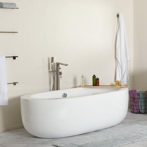 MAYKKE Bexley 72 Inches Modern Oval Light Acrylic Bathtub...