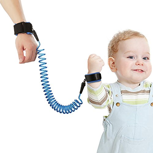 Anti Lost Wrist Link, Yoobaby Child Safety Harness Strap Rope Leash Walking Hand Belt Wrist Link with Anti Pricking Velcro for Toddlers Babies & Kids , 2.5m Blue