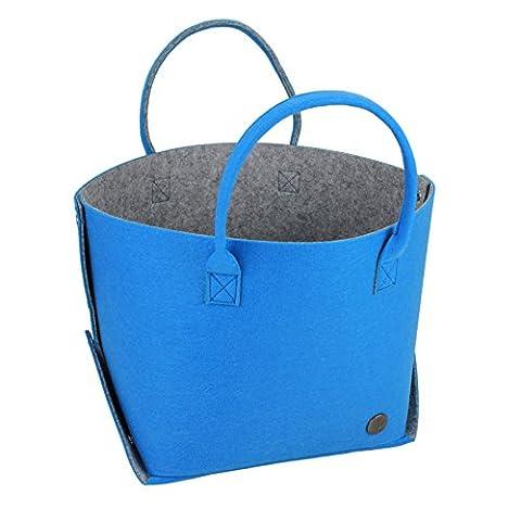 Lanvdesign Felt Travel Carry Bag Shoulder Handbag Shopping Work Bag Tote Bag (Blue/Grey)