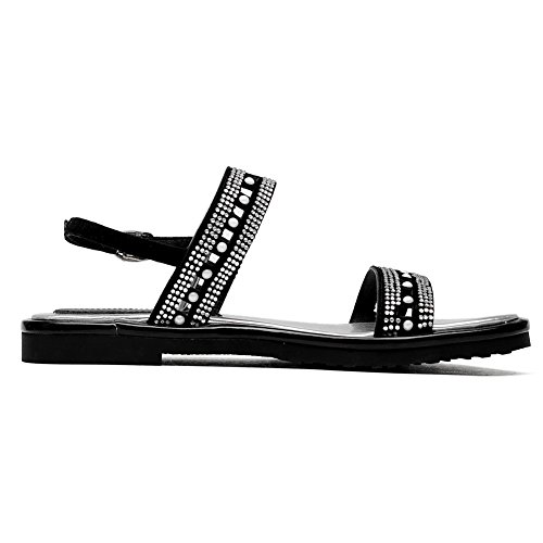 AmoonyFashion Womens Solid Frosted Low-heels Open Toe Buckle Sandals Black uJXATSLL