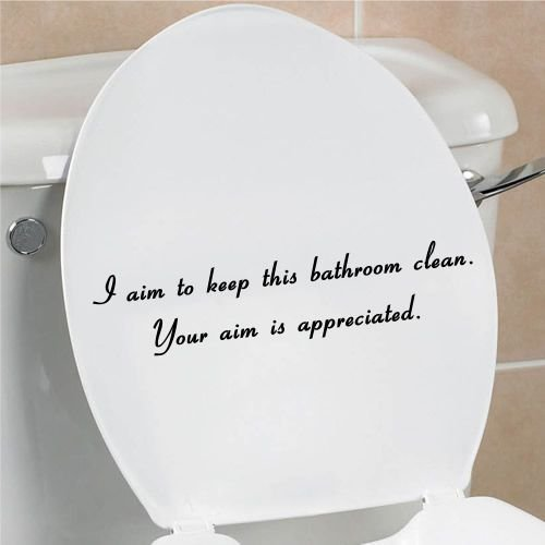 I aim to keep this bathroom clean your aim is appreciated funny toilet seat bathroom home vinyl decal (Decal Seat)