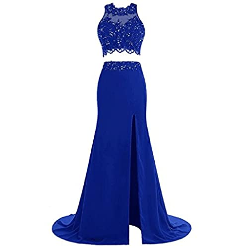 ANGELA Womens Halter Solid Sleeveless Long Gown Dress, Royal Blue, 6