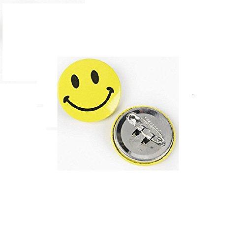 24 Mini Metal Smiley Smile Face Button Pins