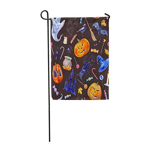 Tarolo Decoration Flag Pumpkin Jack O Lantern Lollipop Castle Bat Spider Broom Candle Tree Crow Autumn Leaves and Candy Halloween Watercolor Thick Fabric Double Sided Home Garden Flag 12
