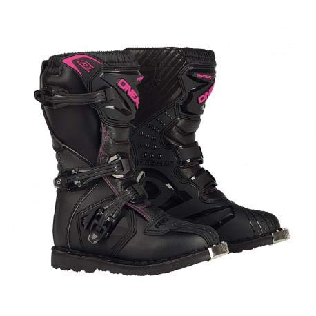 - O'Neal Girls New Logo Rider Boot (Black/Pink, Size 2)