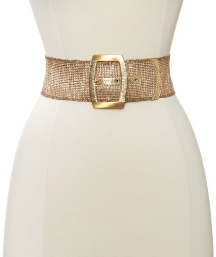 Streets Ahead Women's Metalic Gold Stretch Belt, As Sample, Small by Streets Ahead