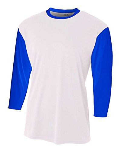 White/Royal Blue Adult 2X 3/4 Sleeve Baseball/Softball Raglan Utility ()