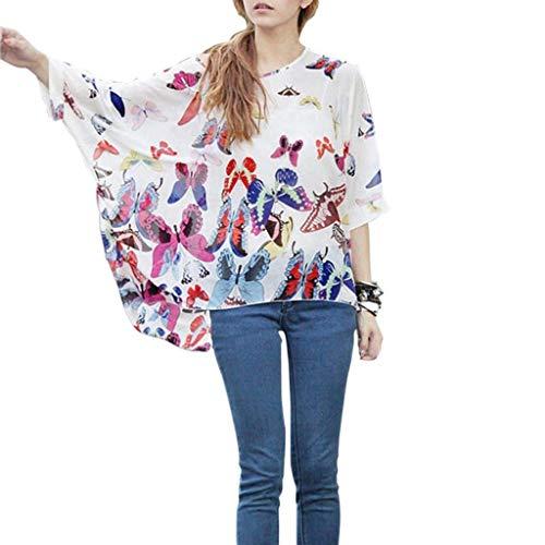 Vintage Blouse Ar Imprim Chauve Mousseline Elgante Mince Nues Dsinvolte Style Haut Blanc Large Femme Tops Spcial Mode Fleur Tunique paules Souris Et qratwr