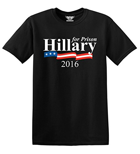 GunShowTees Men's Hillary Clinton for Prison 2016 Funny Political Donald Trump Shirt