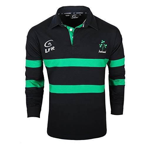 Irish Rugby Shirt for Men, Embroidered Shamrock Crest, Blue (X-Large)