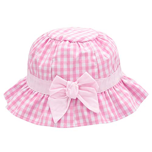 Baby Girl Sun Hat Bowknot - Bucket Hats for Infant Toddler Summer Sun Protection (6-12 Months, Pink Plaid) ()