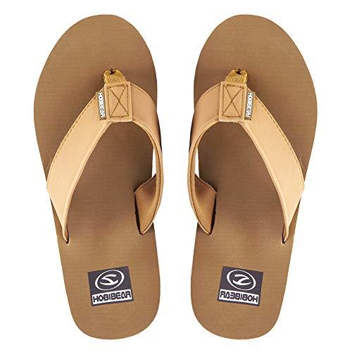 - KIIU Mens Flip Flops Lightweight Flip-Flops for Men Thong Sandals with Arch Support Athletic Slippers (11.5M Light Brown)