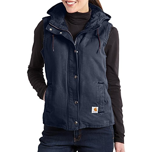 Carhartt Women's Sandstone Berkley Vest Sherpa Lined Snap Front Hooded, Hudson Blue, XX-Large (Carhartt Snap Front Denim)