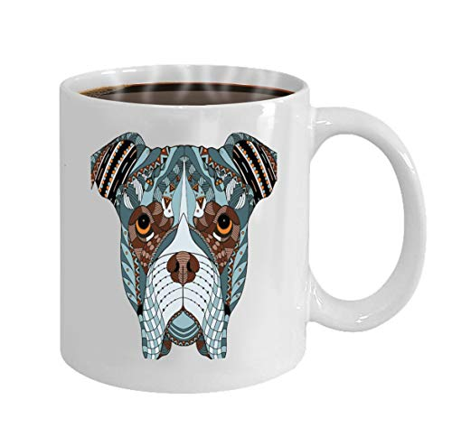 Custom Mugs - White Ceramic 11 Oz boxer dog head zentangle stylized freehan freehand