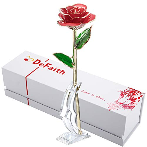 DEFAITH 24K Gold Rose Made from Real Fresh Long Stem Rose Flower, Great...