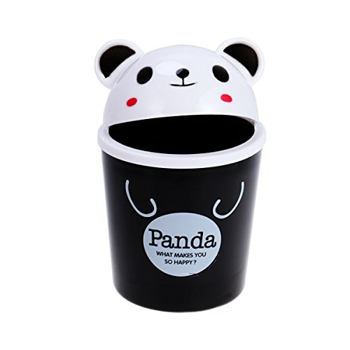 TOYMYTOY Desktop Trash Can Cartoon Animals Wastebasket Rubbish Storage Bin Mini Garbage Organizer (Black Panda)