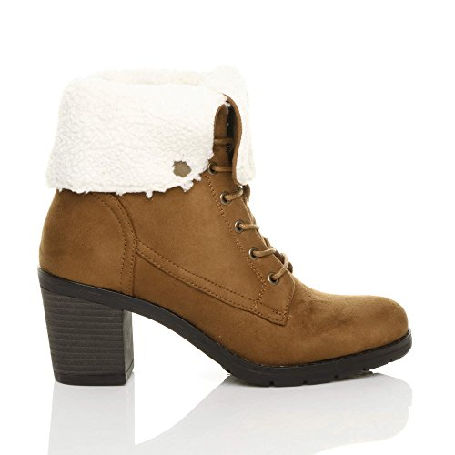 Heel Collar Ankle Size Womens Ajvani Boots Lace up mid Tan Camel Block Fur Ladies Lined Winter OxYIIqnpw