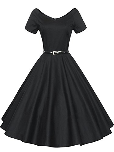 [HongyuTing Vintage V-neck Swing Rockabilly Pinup Ball Gown Party Evening Dress] (1940s Pin Up Girl)